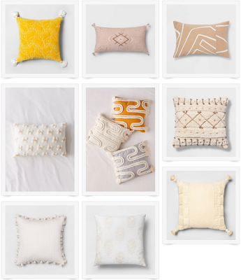 collection of mulitcolored throwpillows