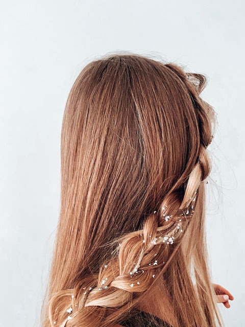 long blonde hair with braid and hair glitter