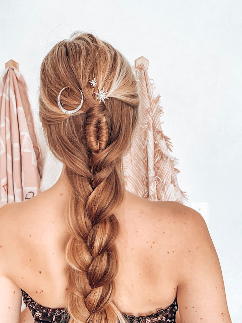 long blonde hair with boho braid and celestial hair barettes