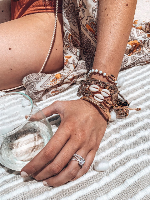 beachy boho layered bracelets with shells