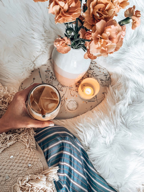 iced coffee and fresh flowers