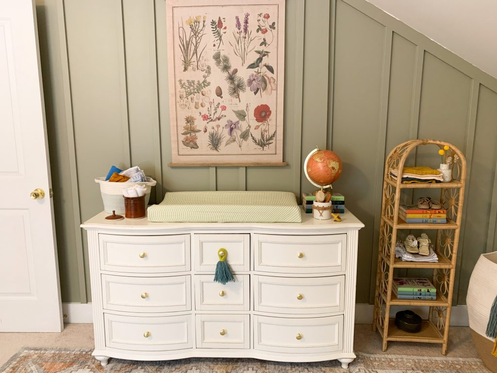 Boho nursery changing table and dresser